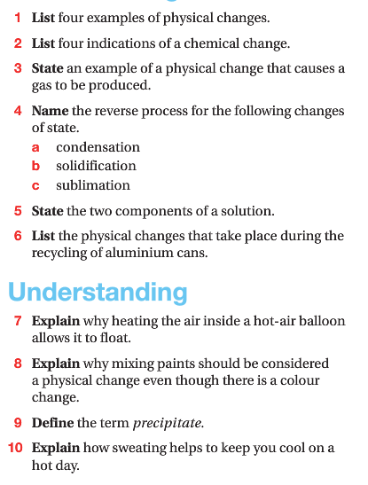 Physical Chemical Change Unit Review 61 Part 1